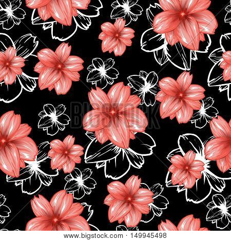 Seamless pattern with pink flowers on the black background.Vector fashion fabric textile design. Can be used for pillow or tablecloth.