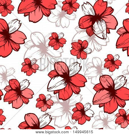Seamless pattern with pink flowers on the white background.Vector fashion fabric textile design. Can be used for pillow or tablecloth.