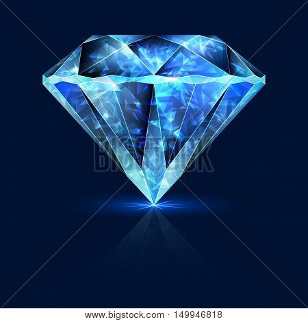 Blue Gemstone Shining Sapphire. Shimmering Crystal Ice.