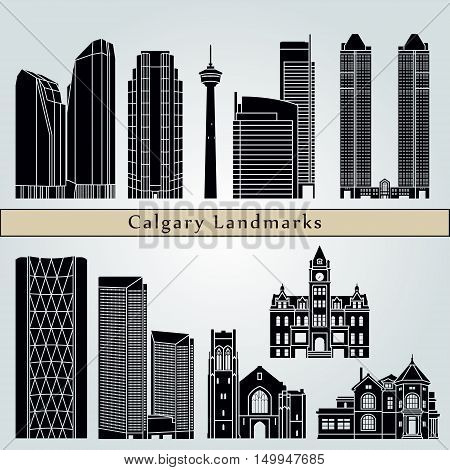 Calgary landmarks and monuments isolated on blue background in editable vector file