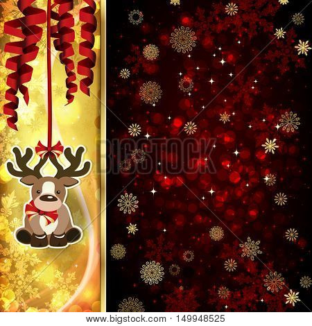 Christmas card with Christmas decor, serpentine on golden and red background.