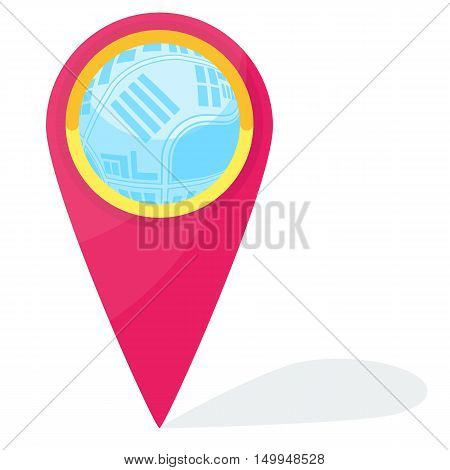 Red vector gps pointer. Check point symbol. Global Positioning System icon template. Navigation mark. Flat cartoon pointer illustration. Objects isolated on a white background.