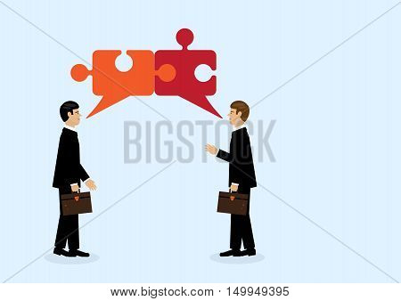 Two businessmen in conversation reach agreement visually through connecting puzzle pieces.