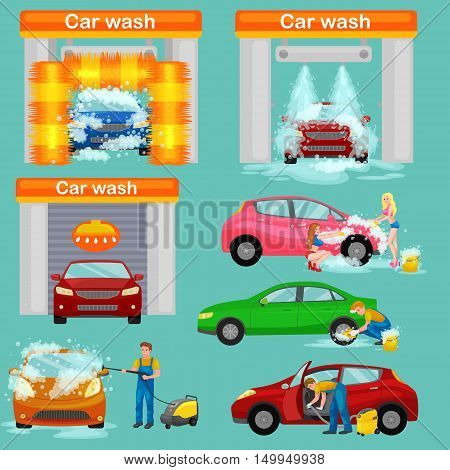 car wash services, auto cleaning with water and soap, car interior.