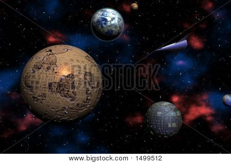 Space Odyssey On Distant Alien Planets - Digital Illustration
