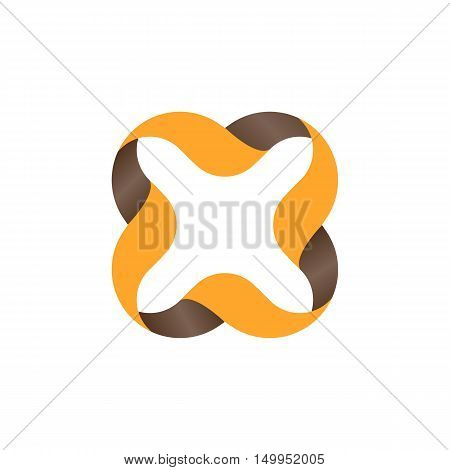 Isolated orange color outlined cross icon. Vector cross illustration. Multiplication sign. Wavy lines element. Alphabetic letter x icon