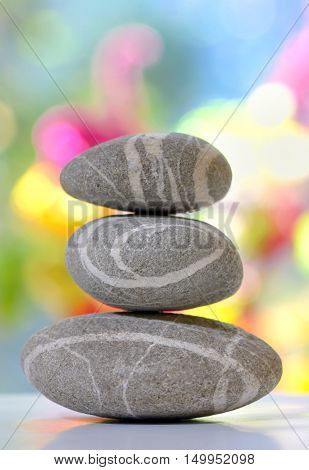 Balanced stack of pebbles isolated, close up