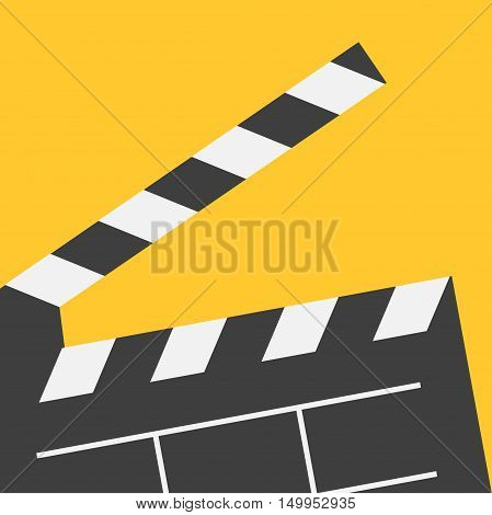Big open clapper board. Movie cinema collection. Flat design style. Yellow background. Vector illustration