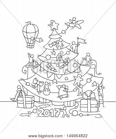 New Year Eve greeting placard. Cartoon doodle illustration with liitle people prepare to celebration. Hand drawn vector background with christmas tree air balloon tree toys gifts decorations.