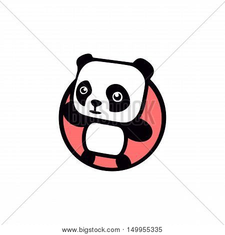 Fun, children, isolated, geek, cute, personalized panda waving paw.Round shape, cartoon, contour stylized logotype.Pink logo template.Asian bear, kids toy, element logo. Panda vector illustration.