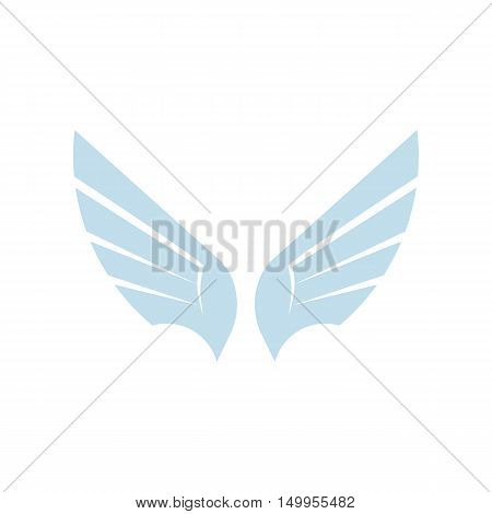 Isolated abstract blue color bird element logo. Spreading wings with feathers logotype. Flight icon. Air sign. Vector bird illustration. Airline symbol