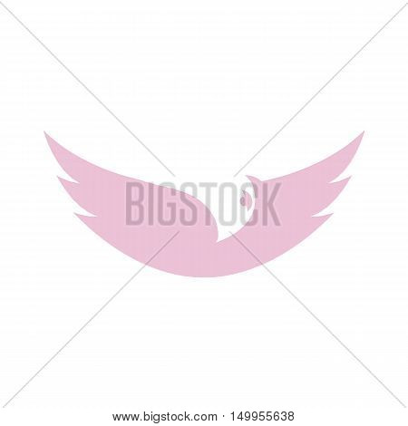 Isolated abstract purple color bird element logo. Spreading wings with feathers logotype. Flight icon. Air sign. Vector bird illustration. Airline symbol.