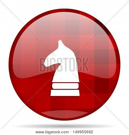chess horse red round glossy modern design web icon