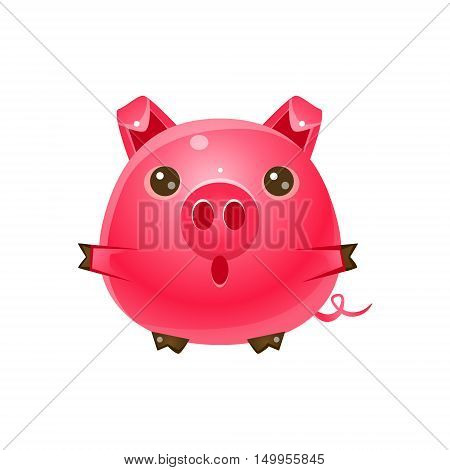 Pig Baby Animal In Girly Sweet Style. Bright Color Vector Icon Isolated On White Background. Cute Childish Animal Character Design.