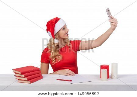 Woman Taking Selfie With Smartphone At Christmas, Xmas Concept Isolated