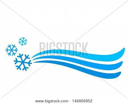 blue snowflakes and background with abstract line