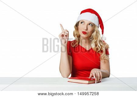 Girl Shows Welcome Gesture, Xmas Concept Isolated01