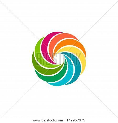 Isolated abstract colorful circular sun logo. Round shape rainbow logotype. Swirl, tornado and hurricane icon. Spining hypnotic spiral sign. Photo lens symbol. Vector round illustration.