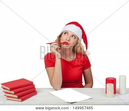 Christmas Girl With Pen, Xmas Concept Isolated04