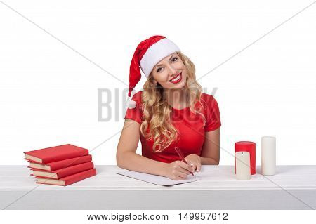 Christmas Girl With Pen, Xmas Concept Isolated03