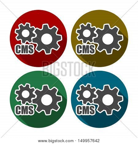 Cms icon set with long shadow, cms logo