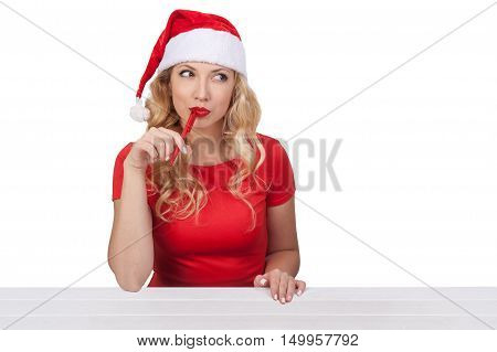 Christmas Girl With Pen, Xmas Concept Isolated02