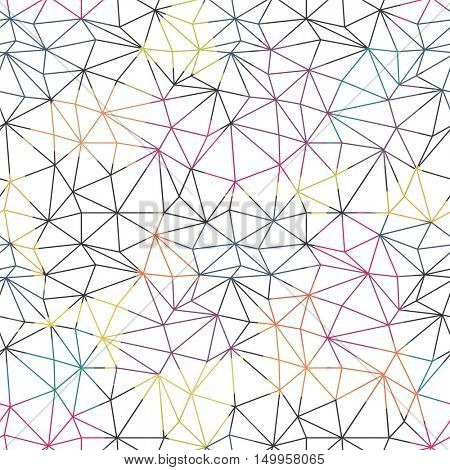 Low poly seamless repeat pattern. Triangular facets. Vector pattern. Colorful Wireframe Background
