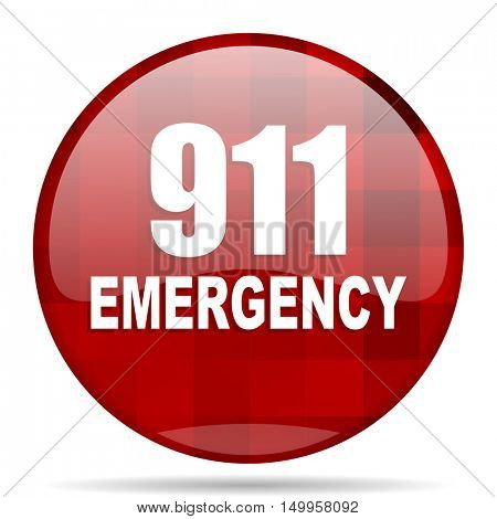 number emergency 911 red round glossy modern design web icon
