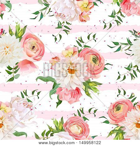 Dahlia ranunculus rose and peony seamless vector pattern. Romantic garden print with pink striped and speckled backdrop.
