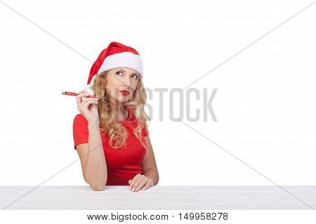 Christmas Girl With Pen, Xmas Concept Isolated01
