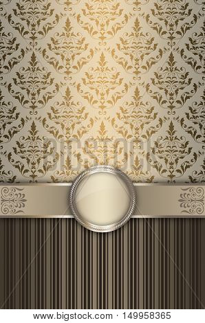 Ornate background with old-fashioned patterns and decorative border.