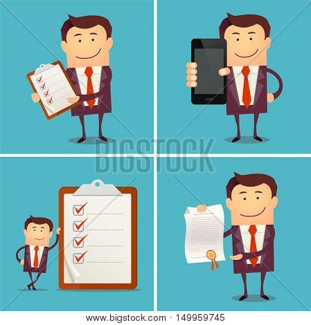 Set of businessman characters showing a blank smart phone screen, proudly showing a diploma, standing with clipboard and checklist. Flat style. Successful concept.