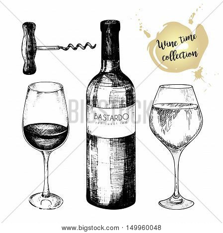 Vector set of wine collection. Engraved vintage style. Glasses bottle and corkscrew. Isolated on white background. Use for restaurant cafe store food menu design