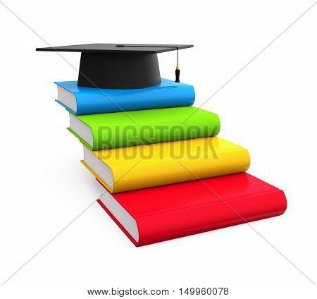 Graduation Cap and Books isolated on white background. 3D render
