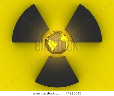 3D radioactivity symbol with Earth globe