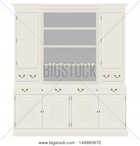 Vector illustration white empty vintage cabinet. Retro interior furniture. Bookshelf