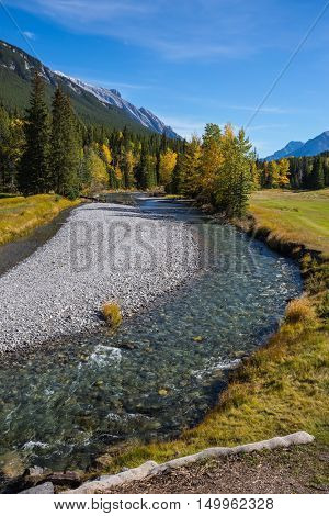 Sunny autumn day in the Canadian Rockies. Dry creek in Banff National Park