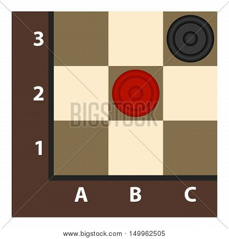 Checkers icon in cartoon style isolated on white background. Board games symbol vector illustration.