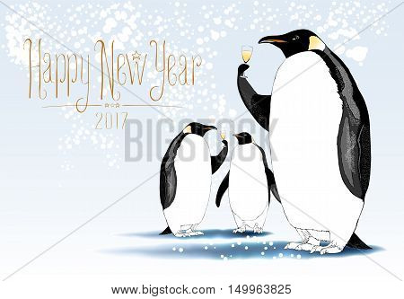 Happy New Year 2017 vector cute greeting card. Design element seasonal illustration with penguins drinking champagne at a New Year eve. Hand drawn lettering
