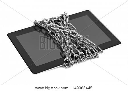 Touchpad pc and chain isolated on white background