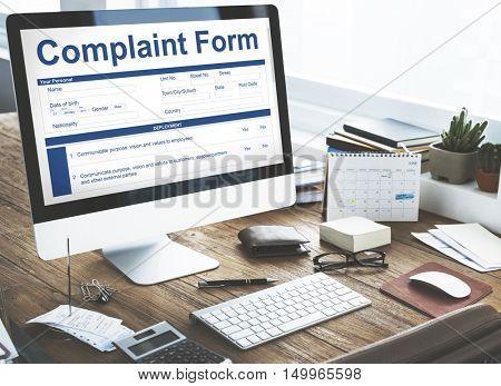 Computer Complaint Form Information Concept