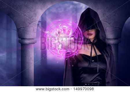 Asian Witch Woman Show Magic Pentagram In His Hand