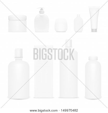 Cosmetics Set Isolated. Plastic Cosmetic Bottles And Tubes. Beauty Product. Shampoo Template