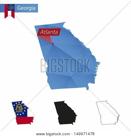 State Of Georgia Blue Low Poly Map With Capital Atlanta.