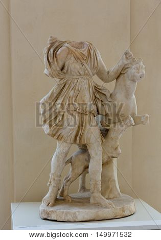 ROME, ITALY - JUNE 12, 2015: Statue of Artemis in baths of Diocletian (Thermae Diocletiani) in Rome. Italy