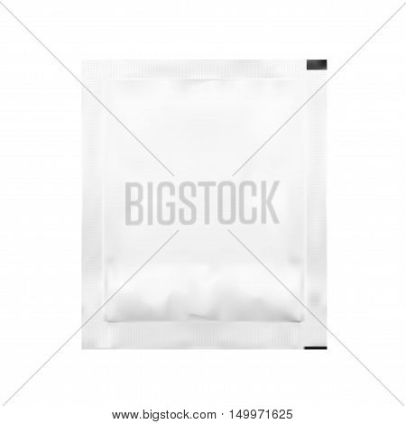 White Blank Foil Pouch Packaging For Salt, Sugar, Sachet. EPS10 Vector