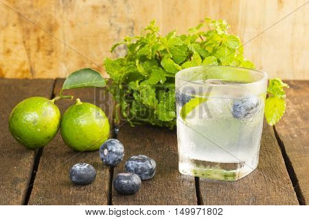 Drink Detoxification,blueberry and lemonade water.Fruit and health.Close up.00011010
