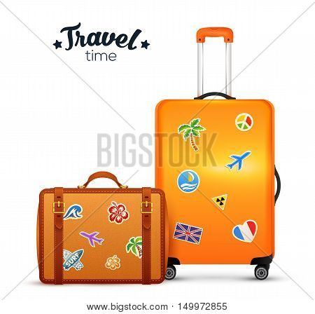 Orange and leather vector traditional and wheel suitcases with travels stickers