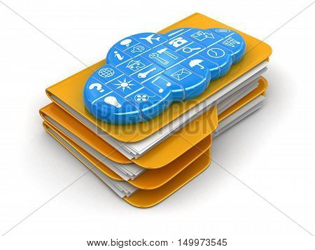 3D Illustration. Folders and files with cloud. Image with clipping path