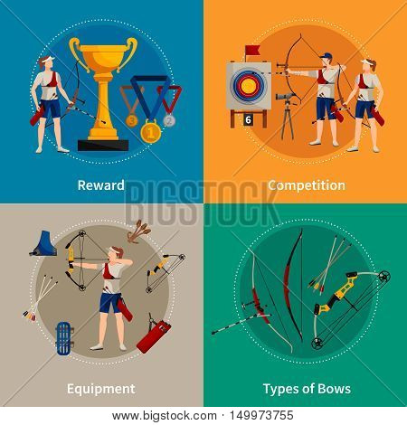 Colorful archery flat 2x2 icons set with archers rewards types of bows and equipment isolated vector illustration